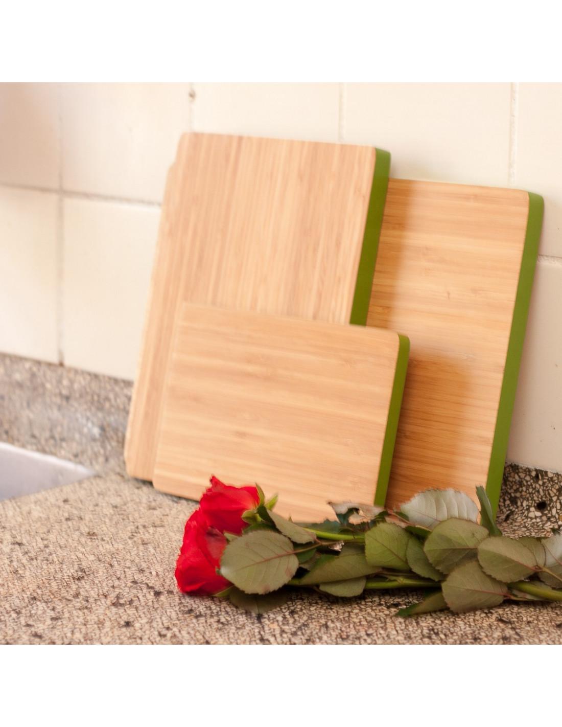Grote bamboe snijplank met een groene rand - Houten accessoires en ...