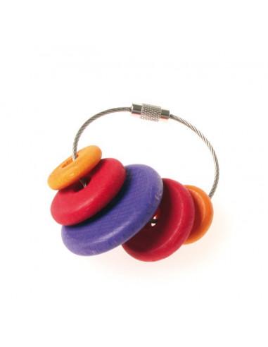 Sleutelhanger rood/paarse kralen